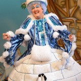 Iain Lauchlan as Dame Trott in Jack and the Beanstalk at Belgrade Theatre - credit Robert Day